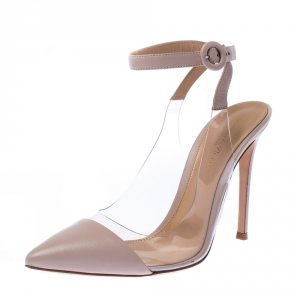 Gianvito Rossi Pink Leather And PVC Anise Pointed Toe Ankle Strap Sandals Size 39