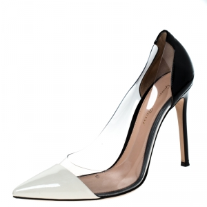 Gianvitto Rossi Monochrome Patent Leather And PVC Plexi Pointed Toe Pumps Size 38