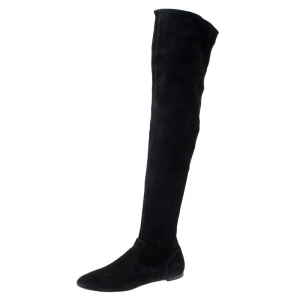 Gianvito Rossi Black Suede Felder Flat Cuissard Over the Knee Boots Size 40 - used