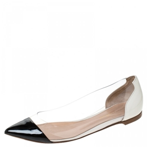 Gianvito Rossi Black/Off White Patent Leather and PVC Ballet Flats Size 37