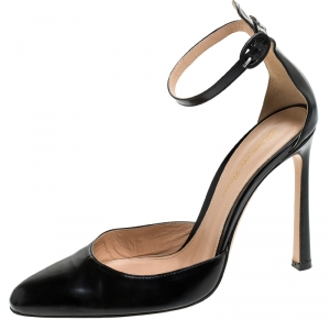Gianvito Rossi Black Leather D'orsay Ankle Strap Pumps Size 37