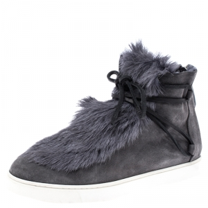 Gianvito Rossi Grey Suede And Fur Inuit Ankle Boots Size 38.5 - used