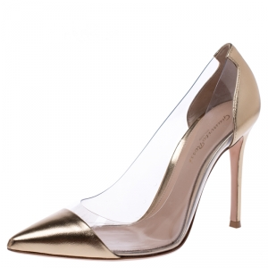 Gianvito Rossi Metallic Gold Leather And PVC Plexi Pointed Toe Pumps Size 37.5