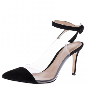 Gianvito Rossi Black Suede and PVC Ankle Strap Pointed Toe Sandals Size 37.5