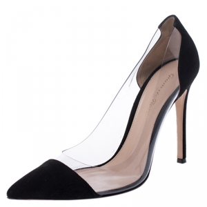 Gianvito Rossi Black Suede and PVC Plexi Pointed Toe Pumps Size 38