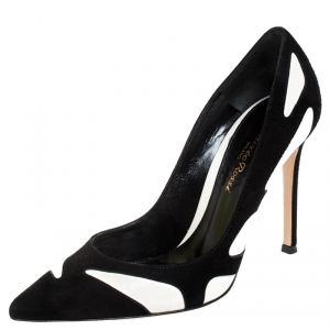 Gianvito Rossi Black Suede And White Leather Pointed Toe Pumps 36