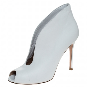 Gianvito Rossi White Leather Vamp Peep Toe Booties Size 39