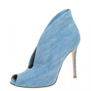 Gianvito Rossi Blue Denim Fabric Vamp Peep Toe Booties Size 38
