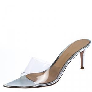 Gianvito Rossi Silver PVC Plexi Illusions Pin Heel Slide Sandals Size 39