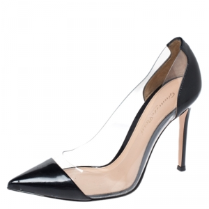 Gianvito Rossi Black Patent Leather And PVC Plexi Pointed Toe Pumps Size 36