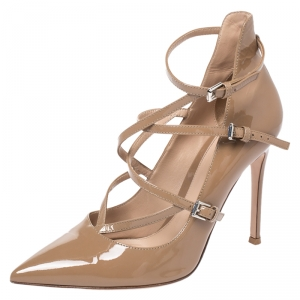 Gianvito Rossi Beige Patent Leather Crisscross Pointed Toe Pumps Size 37.5