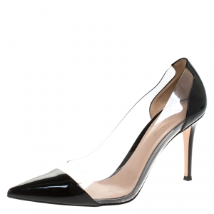 Gianvito Rossi Black Patent Leather And PVC Plexi Pointed Toe Pumps Size 40