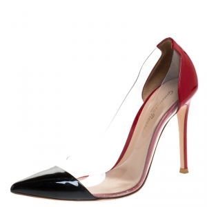Gianvito Rossi Red/Black Patent Leather and PVC Plexi Pointed Toe Pumps Size 37.5