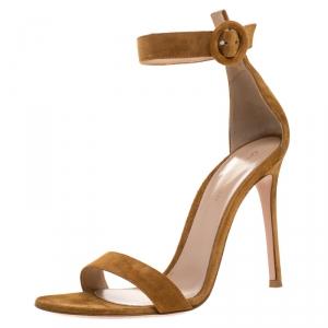 Gianvito Rossi Tan Suede Portofino Ankle Strap Sandals Size 39
