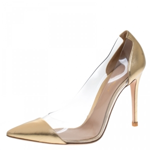 Gianvito Rossi Gold Leather And PVC Plexi Pointed Toe Pumps Size 39.5