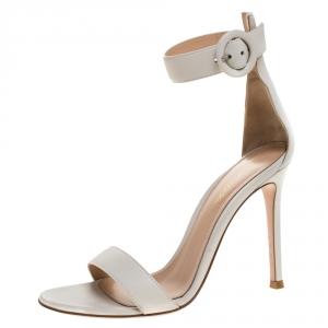Gianvito Rossi White Leather Portofino Ankle Strap Sandals Size 35