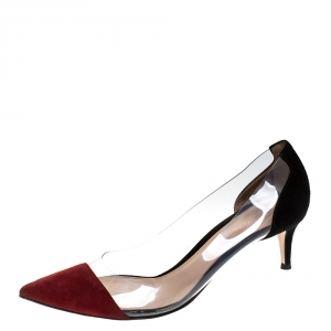 Gianvito Rossi Red/Black Patent Leather and PVC Plexi Pointed Toe Pumps Size 41