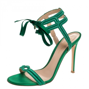 Gianvito Rossi Green Embroidered Fabric And Satin Lace Ankle Wrap Open Toe Sandals Size 37.5