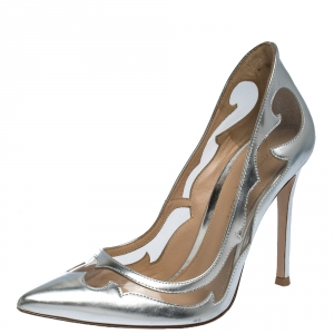 Gianvito Rossi Silver Leather And PVC Pointed Toe Pumps Size 36