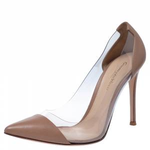 Gianvito Rossi Brown Leather And PVC Plexi Pointed Toe Pumps Size 39.5