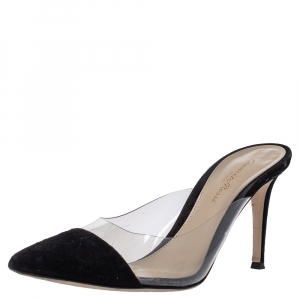 Gianvito Rossi Black Suede and PVC Plexi Pointed Toe Mule Sandals Size 39 - used