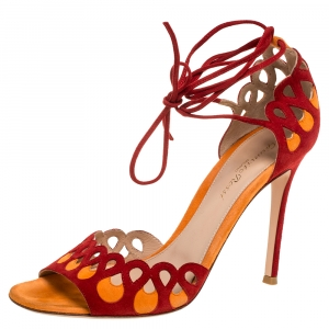 Gianvito Rossi Red/Orange Suede Ankle Tie Sandals Size 38.5
