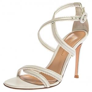 Gianvito Rossi White Criss Cross Leather Brad Strap Sandals Size 35
