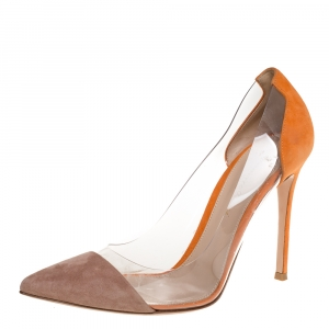 Gianvito Rossi  Beige/Orange Suede Leather And PVC Plexi Pointed Toe Pumps Size 39