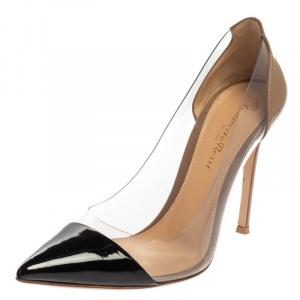 حذاء كعب عالي جيانفيتو روسي مقدمة مدببة بلكسي بي في سي وجلد لامع أسود مقاس 37