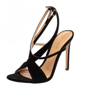 Gianvito Rossi Black Suede Criss Cross Ankle strap Sandals Size 38