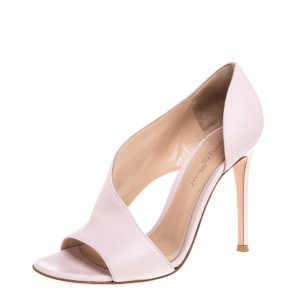 Gianvito Rossi Pink Leather D'orsay Open Toe Pumps Size 37