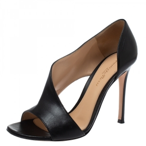 Gianvito Rossi Black Leather Open Side D'orsay Sandals Size 37