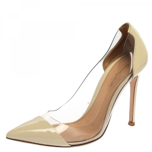 Gianvito Rossi White Patent Leather And PVC Plexi Pointed Toe Pumps Size 36