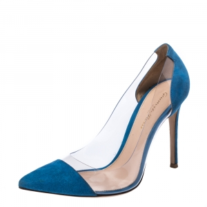 Gianvito Rossi Blue Suede And PVC Plexi Pointed Toe Pumps Size 38