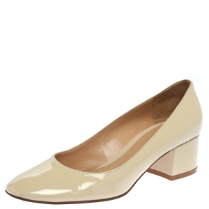 Gianvito Rossi Cream Patent Leather Round Toe Block Heel Pumps Size 37.5