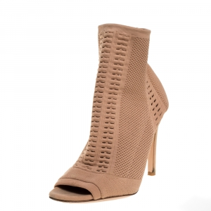 Gianvito Rossi Beige Stretch Knit Fabric Perforated Boots Size 37.5 - used