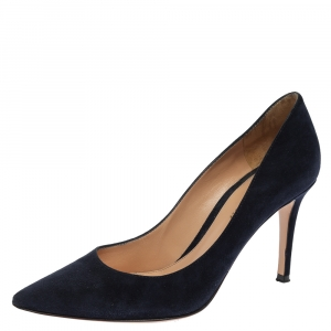 Gianvito Rossi Blue Suede Pointed Toe Pumps Size 38