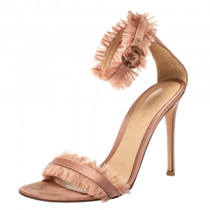 Gianvito Rossi Blush Pink Satin Fringe Trim Caribe Ankle Strap Sandals Size 39