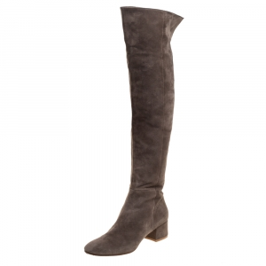 Gianvito Rossi Brown Suede Leather Over the Knee Boots Size 39.5 - used