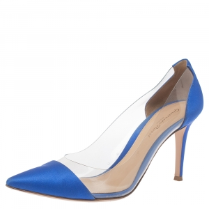 Gianvito Rossi Blue Satin And PVC Plexi Pointed Toe Pumps Size 38