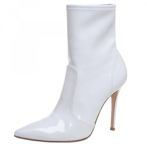 Gianvito Rossi White Vinyl Pointed Toe Booties Size 39
