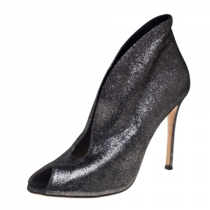 Gianvito Rossi Metallic Silver Foil Suede Vamp Peep Toe Booties Size 39.5 - used