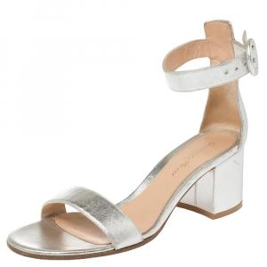 Gianvito Rossi Metallic Silver Leather Portofino Sandals Size 37 - used