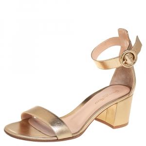 Gianvito Rossi Metallic Gold Leather Portofino Block Heel Sandals Size 39.5 - used