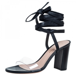 Gianvito Rossi Black Leather And PVC Plexi Transparent Sandals Size 35.5 - used