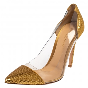Gianvito Rossi Gold Sequins And PVC Embellished Plexi Pumps Size 39.5