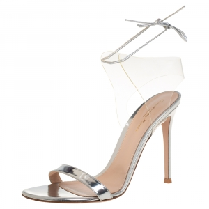 Gianvito Rossi Silver Leather And PVC Ankle Wrap Sandals Size 40