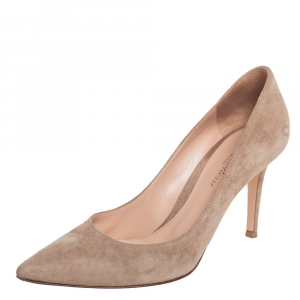 Gianvito Rossi Beige Suede Slip On Pumps Size 38
