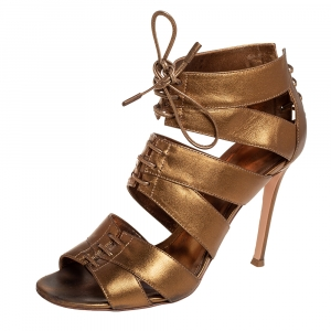 Gianvito Rossi Metallic Gold Leather Roxy Lace Up Caged Sandals Size 37.5 - used