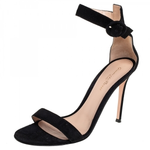 Gianvito Rossi Black Suede Ankle Strap Sandals Size 39.5 - used